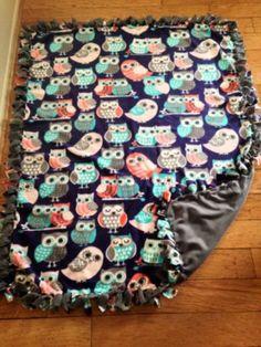 New Handmade Owl No Sew Tie Throw Fleece Blanket | eBay
