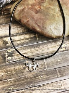 Horse Necklace, Country Jewelry, Horse Charm, Country Charm, Black Leather Cord, Pony Necklace, Pony Jewelry, Stallion Jewelry ...by simply topaz | https://www.etsy.com/listing/257660448/horse-necklace-country-jewelry-horse
