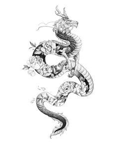 Dragon Tattoo Drawing, Small Dragon Tattoos, Dragon Tattoo For Women, Dragon Sleeve Tattoos, Japanese Dragon Tattoos, Japanese Tattoo Art, Dragon Tattoo Designs, Dragon Tattoo Anime, Dragon Tattoo Outline