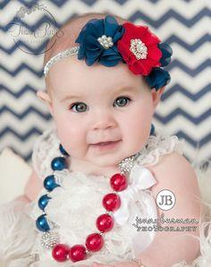 Niñas náutica collar grueso y conjunto de cinta de bebé, diademas bebé, Patriótico collar grueso, diademas de bebé náutica, 4 de julio establece