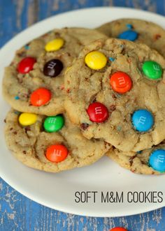 G Our favorite M&M Cookies recipe. Used mini M&Ms instead of chopping. Added regular ones on top. Reduce salt to 1/2 tsp.