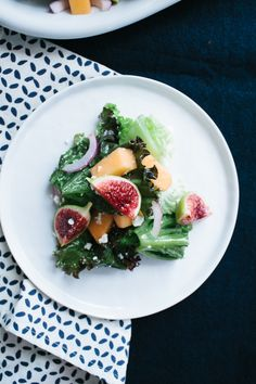 Fig and Melon Salad with Creamy Lemon Vinaigrette // Not Without Salt