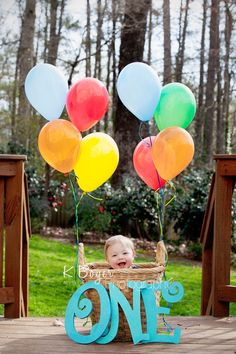 Charlie's First Birthday Cake Smash | Atlanta GA Photographer - Kristin Boyer - Hot Air Balloon, A Basket and A Boy.