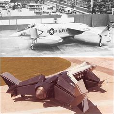 Rockwell XFV-12A mockup at North American Aviation,Columbus 1973 (top) & prototype in 1977.XFV-12A used thrust augmented wing concept where exhaust from Pratt & Whitney F-401-PW-400 afterburning turbofan would be closed & ducted through ducts in wings & canards to create vertical lift (meant weapons could only be carried under fuselage).Unfortunately unable to produce enough thrust for vertical light (engine could only lift 75% of the weight of the aircraft!).Tests not promising & cancelled…