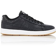 Nike Women's Tennis Classic Ultra Premium Sneakers (1.734.525 IDR) ❤ liked on Polyvore featuring shoes, sneakers, black, black leather sneakers, flat sneakers, leather tennis shoes, nike shoes and perforated leather sneakers
