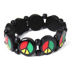 Rasta Peace Sign Wood Tennis Bracelet Zion Jamaica Reggae Roots Bob Irie 1sz fit