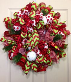 Christmas Mesh Wreath by WilliamsFloral on Etsy, $95.00