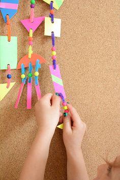 Neon Modern Mobiles for Kids - Meri Cherry Neon Crafts, Art For Kids, Crafts For Kids, Mobiles For Kids, Kindergarten Art Lessons, Mobile Project, Water Games For Kids, Mobile Art, Preschool Art