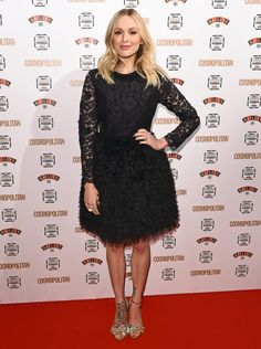 Fearne Cotton Little Black Dress - Fearne Cotton donned a frilly little black dress, featuring a fitted lace bodice and a full, tiered skirt, for the Cosmopolitan Ultimate Women of the Year Awards. Fashion Idol, Funky Fashion, Fashion Beauty, Celebrity Outfits, Celebrity Style, Fearne Cotton, Black Evening Dresses, Tiered Skirts, Cotton Style
