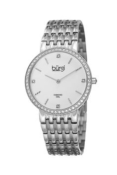 Shop for Burgi Women's Quartz Diamond Stainless Steel Silver-Tone Bracelet Watch - silver. Get free delivery On EVERYTHING* Overstock - Your Online Watches Store! Bracelet Clasps, Link Bracelets, Bracelet Watch, Telling Time, Watch Sale, Stainless Steel Bracelet, Cool Watches, Quartz Crystal, Watch Bands
