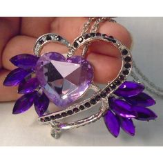 new Large Stylish Heart necklace, purple stones Listing in the Necklaces,Costume Jewelry,Jewelry & Watches Category on eBid United States | 150291298