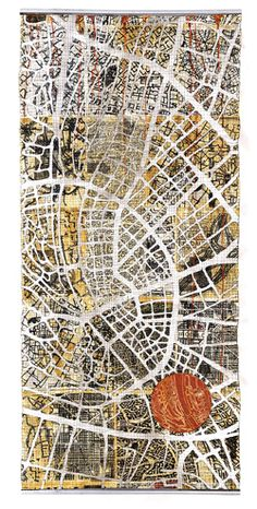 Textile/quilt work 'Urban fragments' map art quilt by Eszter Bornemisza for Voices quilt art exhibition at the Devon Guild of Craftsmen jan-Feb Map Quilt, Quilt Art, Map Projects, Art Carte, Textiles Techniques, Contemporary Quilts, A Level Art, Textile Artists, Map Art