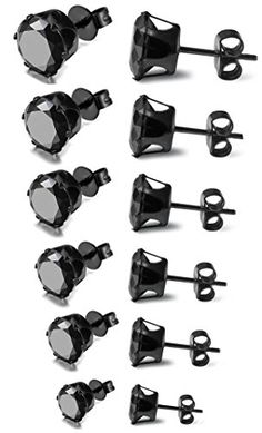 """ON SALE AT http://jewelrydealsnow.com/?a=B01914JS2G - FIBO STEEL Stainless Steel Mens Womens Stud Earrings Black Round Cubic Zirconia Inlaid, 6 Pairs 3mm-8mm"""""""