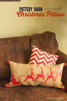 Pottery Barn Santa Christmas Pillow #christmasdecor
