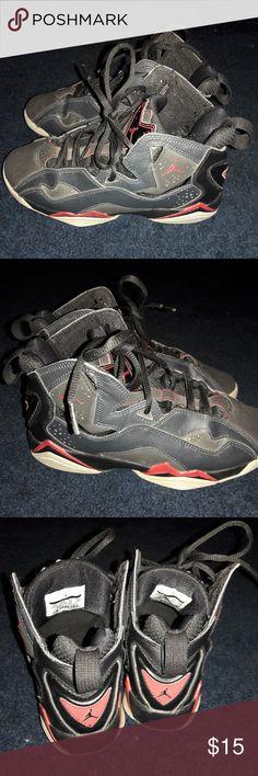 Black Jordans Jordan's, boys, size 4Y, used but still in good condition. Jordan Shoes Sneakers
