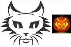Check out these hair-raising Cat Pumpkin Carving Stencils. Cat Lovers rejoice for these fun pumpking carving stencils any ghoul will love. Cat Face Pumpkin, Cat Pumpkin Stencil, Cat Pumpkin Carving, Pumpkin Carving Patterns, Cheshire Cat Pumpkin, Halloween Band, Pumpkin Images, Halloween Stencils, Face Template
