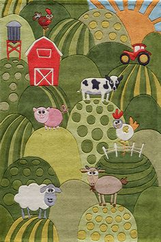 Green, red, yellow, blue, black, white, and orange! Animals on a farm! Bedroom rug for your boy from  www.igotyourrug.com