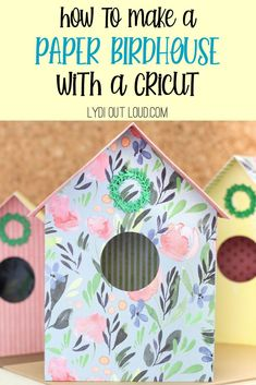 Create a beautiful DIY Birdhouse made out of paper using a Cricut machine. With 3 designs, you can customize this spring decor to your own personal style. Recycled Paper Crafts, Do It Yourself Organization, Bird Houses Diy, Paper Birds, Cricut Craft Room, Diy Birdhouse, Birdhouses, Fun Crafts For Kids, Homemade Crafts