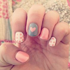 Cute heart nailspiration! I think this would be lovely for Valentines, but with red instead of pink and black instead of grey...