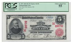 "Any time you can say ""this note hasn't been offered since Grinnell"" then you know you are dealing with a good one. This serial number one red seal is an absolute peach. The blue serial numbers and red overprints are as bright as the day they were printed. And I can safely say that the last auction realization of $18 (from 1946) will definitely be topped."