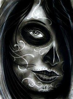 Randy Harris Airees Blues Tattoo Canvas Art Print Day of the Dead Skull NEW Day Of The Dead Girl, Day Of The Dead Skull, Katrina Mexicana, Posters Geek, Day Of Dead Tattoo, Sugar Skull Girl, Sugar Skulls, Catrina Tattoo, Latino Art