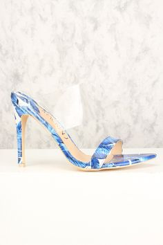 Sexy Blue Floral Print Open Toe Single Sole High Heels High Heel Pumps, Pumps Heels, Stiletto Heels, Spring Shoes, Summer Shoes, Floral Heels, Faux Leather Fabric, Prom Shoes, Diy Halloween Costumes