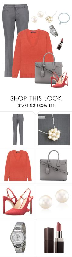 """Coral-silver"" by marijime-paperdoll ❤ liked on Polyvore featuring Tory Burch, 360 Sweater, Yves Saint Laurent, Nine West, Anne Sisteron, Swatch and Laura Mercier"