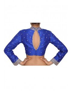 Royal blue blouse featured in raw silk, embelllished with gold stone work only on Kalki