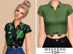 This is a cute little button up blouse, with rolled up sleeves and a tie in the front. Goes perfect with jeans! Found in TSR Category 'Sims 4 Female Everyday'