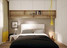 aménagement petite chambre avec des armoires murales en hauteur jusqu'au plafond, tables de chevet en noir et blanc et en bois massif
