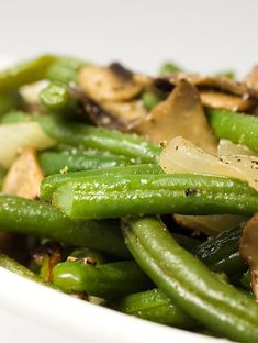 Tender green beans sauteed with earthy mushrooms and onions.