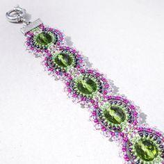Beaded macrame bracelet  Hoar frost Green Purple by MartaJewelry, $35.00