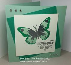 The InkyDinkyDuck - Lisa Hodge Stampin' Up!® Australia: Watercolor Wings Silver Embossed Card http://inkydinkyduck.blogspot.com.au/ http://www.stampinup.net/esuite/home/inkydinkyduck/ #StampinUp #StampinUpAustralia #Australia #WatercolorWings #HeatEmbossing #EmeraldEnvy #MintMacaron #TwoStepStamping #EasyCardsAndCraft #Class #CameronPark #NSW #StampByMail #Newcastle #LakeMacquarie #Maitland