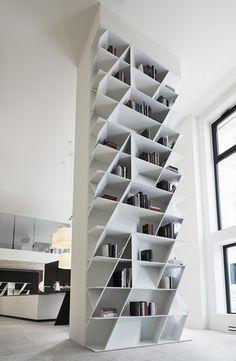 WEB Bookcase for Poliform Varenna Daniel Libeskind 2014 Bookshelf Design, Bookcase Shelves, Bookcases, Cool Shelves, Shelving Design, Modern Bookcase, Modern Shelving, White Shelves, Cool Furniture