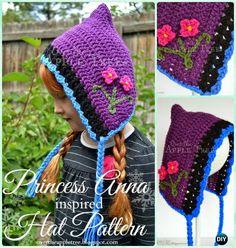 Crochet Frozen Anna Hat Free Pattern Instructions-DIY  #Crochet Ear Flap #Hat Free Patterns