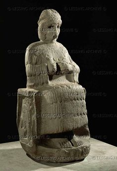 UR, Limestone Statue of the goddess Narundi, 109 cm. 3rd - 2nd mill.BC.  Part of the statuary ordered by king Puzur-Inshushinak of Ur-Nammu (2111-2094 BC). The goddess wears a woollen garment, a kaunakes,and sits on a lion-throne. Louvre