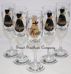 5 Personalized Bride and Bridesmaid Champagne Flutes with Name on Etsy, $60.00
