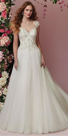 984979ee Brilliant Tulle V-neck Neckline A-line Wedding Dress With Beaded Embroidery