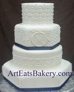 Four tier round and hexagon white fondant custom unique wedding cake with diamond quilt, curlicue royal icing, monogram, sugar pearls and blue ribbons design.jpg (931×1165)