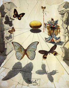 Salvador Dali BUTTERFLIES painting is shipped worldwide,including stretched canvas and framed art.This Salvador Dali BUTTERFLIES painting is available at custom size. Salvador Dali Gemälde, Salvador Dali Paintings, Butterfly Painting, Butterfly Print, Art Moderne, Wassily Kandinsky, Surreal Art, Love Art, Amazing Art