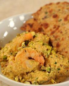 Chef Vikas Khanna's Red Pepper and Pistachio Curried Shrimp Recipe.