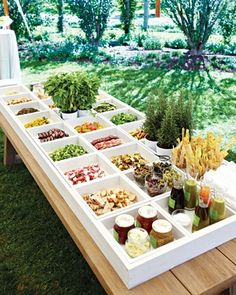 Gourmet Burger Bar - or gorgeous buffet set up for any food category. Lot's of square containers and fresh herbs for decor. Sandwich Bar, Sandwich Station, Salad Sandwich, Sandwich Recipes, Wedding Food Bars, Wedding Reception, Wedding Catering, Reception Food, Wedding Ideas