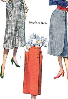 1950s Skirt Pattern Simplicity 2585 Wrap Skirt Side Button Closing Patch Pocket Womens Vintage Sewing Pattern Waist 26