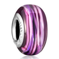 Pugster Pink Purple Stripe Amethyst Murano Glass Charm Bead Fits Pandora Charm Bracelet Pugster. $12.49. Free Jewerly Box. Pandora, Biagi, Chamilia Bead Compatible. Unthreaded European story bracelet design. Murano Glass Bead. Measures 14 mm x 7 mm
