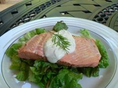 Fresh Poached Salmon with a Light, Tangy Dill Sauce: Poached Salmon with Yogurt Sauce