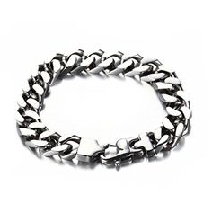 LOPEZ KENT Simple Mens Stainless Steel Link Chain Bracelet Silver