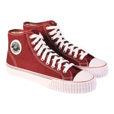Our shoe of the week- PF Flyers Center Hi Burgundy Mens High Top Sneakers Converse Chuck Taylor High, Converse High, Pf Flyers, Men's High Top Sneakers, Mens High Tops, Chuck Taylors High Top, Burgundy, Footwear, Shoes