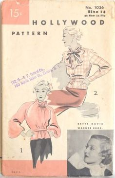 Vintage 1930's Hollywood Blouse Pattern 1036 with Starlet Photo | eBay