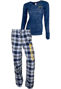 College Concepts St. Louis Blues Women's Crossroad Burnout Long Sleeve and Pant Set - Shop.NHL.com