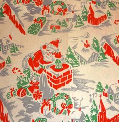 Vintage 1940's Christmas Wrapping Paper, Santa on the Rooftop | eBay
